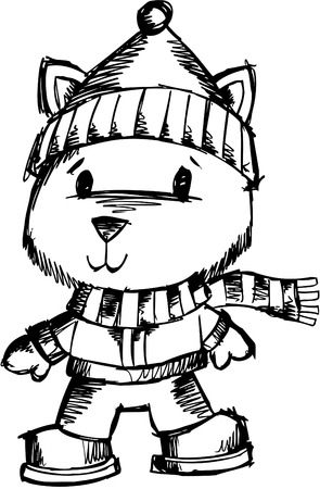 Doodle Sketchy Holiday tiger  Illustration