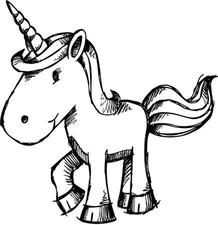 Doodle Sketchy Unicorn  Vector