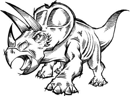트리케라톱스 공룡 스케치 낙서