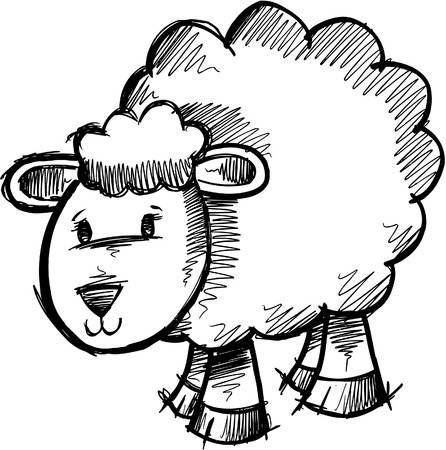 baa: Doodle Sketchy Sheep Lamb  Illustration