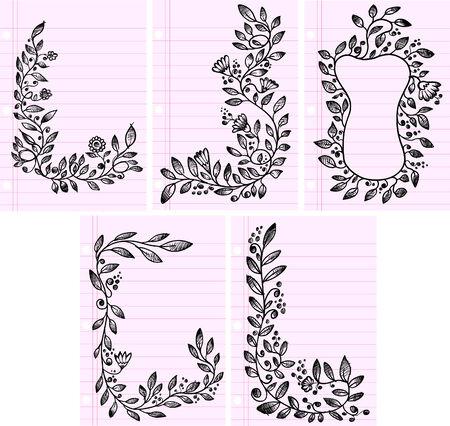 Sketch henna Doodle  Illustration Flower Set