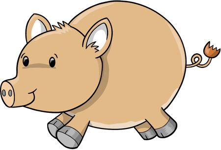 domesticated: Pig Hog illustration