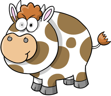 Crazy Cow Illustration Vector