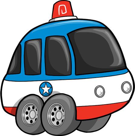 Cute Police Car  Illustration