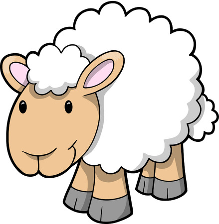 baa:  Illustration of Happy Sheep