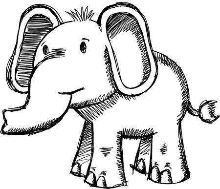 Doodle Sketchy Elephant Archivio Fotografico - 6784499