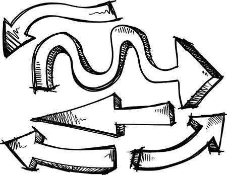 flechas: Ilustraci�n de las flechas de Doodle incompletos Vectores