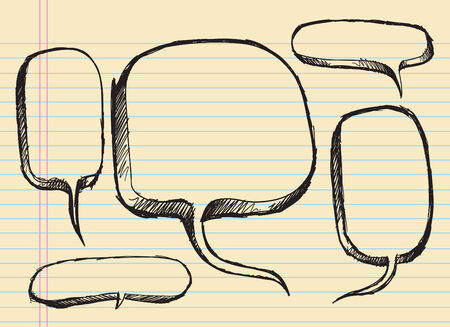 Notebook Doodle Sketch Speech Bubble Illustration Set Çizim
