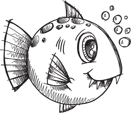 underwater fishes:  Fish Sketch doodle Illustration