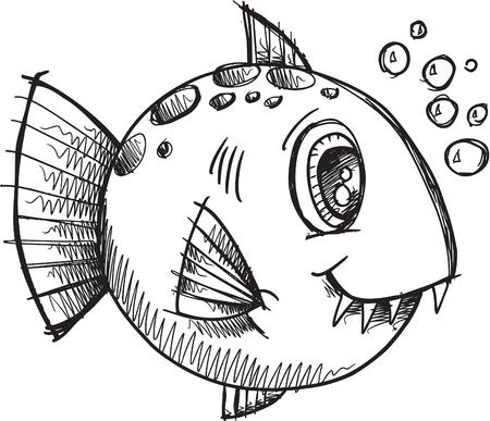 Fish Sketch doodle Vettoriali
