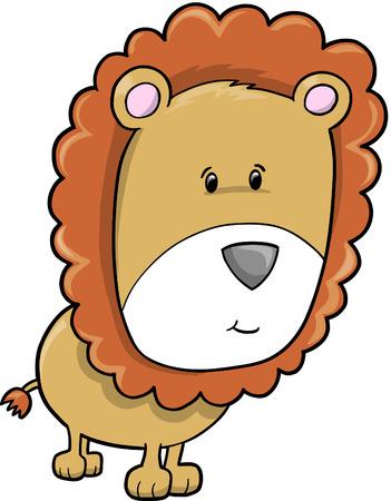 Cute Safari Lion  Illustration Vector