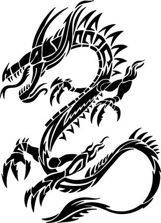tatouage dragon: Tatouage Tribal Dragon Illustration