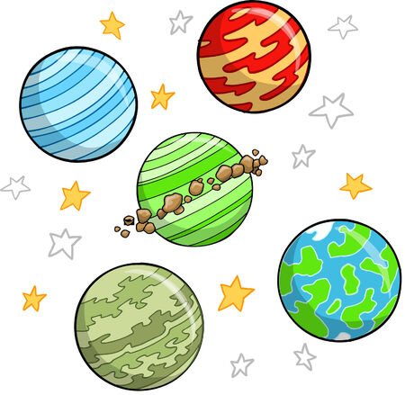 Outer Space Planet and star Set Illustration