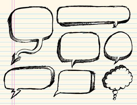 Notebook Doodle schets tekst ballon illustratie Set