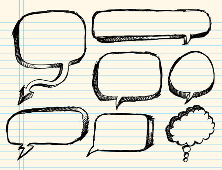 Notebook Doodle Sketch Speech Bubble  Illustration Set Ilustrace