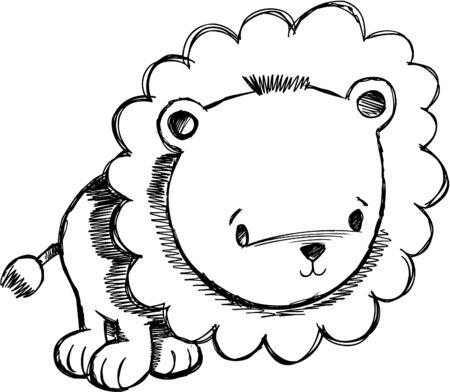with illustration:  Sketchy Lion Illustration