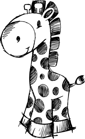 jirafa cute: Sketchy jirafa ilustraci�n