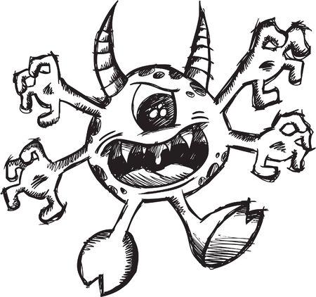 Sketchy Monster Devil  Illustration