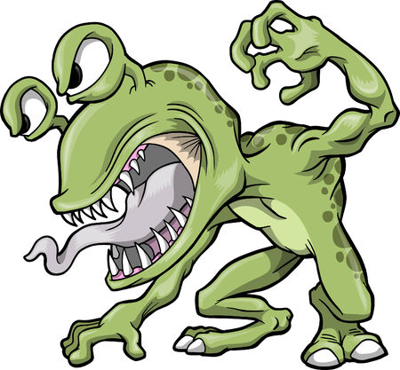 hostile: Mean Green Monster  Illustration Illustration