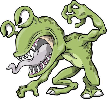 monster teeth: Mean Green Monster  Illustration Illustration