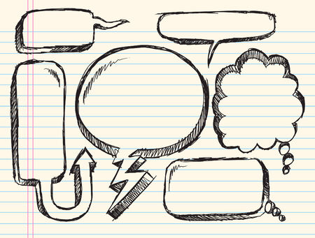 notebook: Notebook Doodle Sketch Speech Bubble Illustration Set Illustration