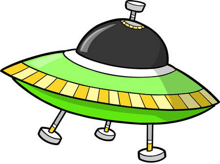 spacecraft: Green UFO Illustration