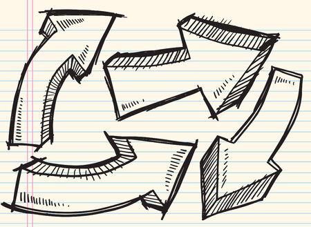 pfeil: Doodle Skizze Pfeil Abbildung
