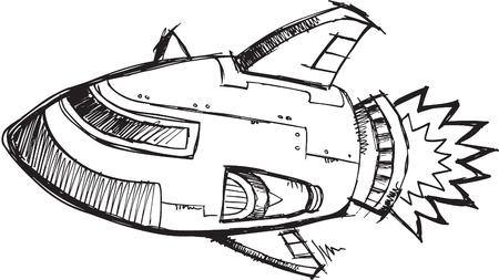 스케치 로켓 제트 일러스트 레이션