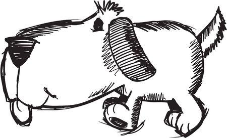 with illustration: Sketchy Dog Illustration Illustration