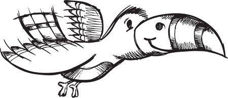 Sketchy doodle Bird Illustration Vector