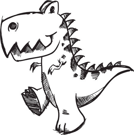 Schetsmatig doodle Dinosaur illustratie