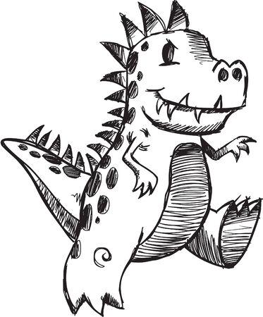 스케치 낙서 공룡 일러스트 레이션