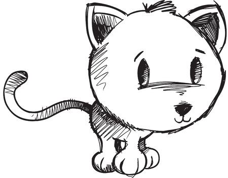 gato dibujo: Bosquejo incompletos ilustraci�n de gato