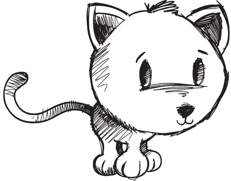 domesticated: Sketchy doodle Cat Illustration