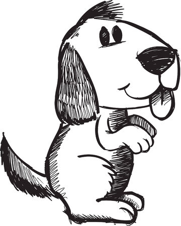 Sketchy doodle Dog Illustration Ilustração
