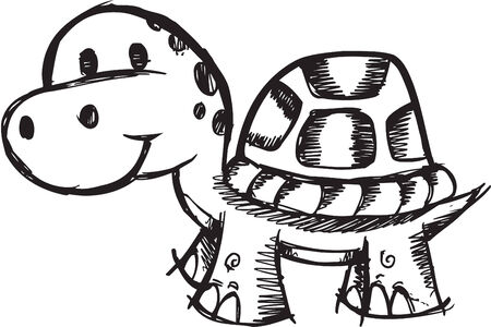 Doodle Sketchy turtle Illustration Vettoriali