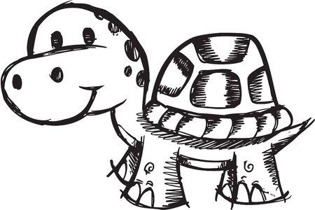 Doodle Sketchy turtle Illustration Vector