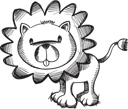 Doodle Sketchy Lion Illustration Vettoriali