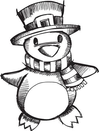 Doodle abbozzato Natale Penguin  Archivio Fotografico - 6883742