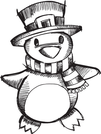 Doodle Sketchy Christmas Penguin  Vector