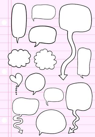 Notebook Doodle Speech Bubble  Illustration Set Illusztráció