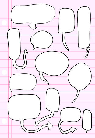Notebook Doodle Speech Bubble  Illustration Set Çizim