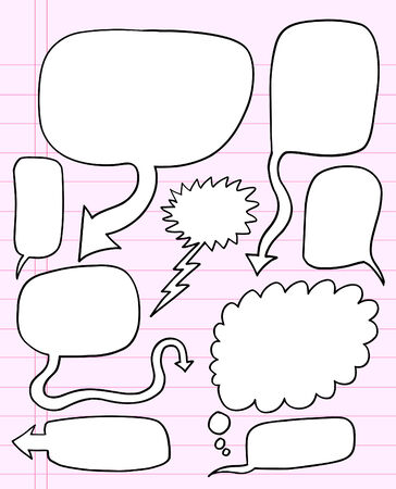 Notebook Doodle Speech Bubble Illustration Set