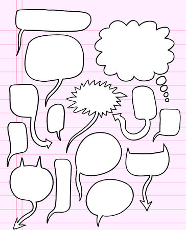 Notebook Doodle Speech Bubble Illustration Set