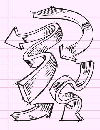 Doodle Sketch Arrow Illustration Set