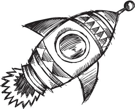 Doodle Sketchy Rocket  Illustration  Vector