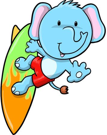 Surfing Blue Elephant  Illustration  Vector