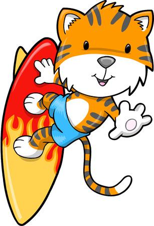 Surfing Summer Tiger  Illustration  Stock Vector - 6968432