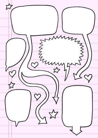 Notebook Doodle Speech Bubble  Illustration Set  Stock Vector - 6968419