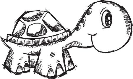 落書き大ざっぱなカメの図  イラスト・ベクター素材